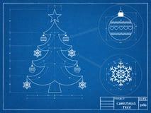 Kerstboomblauwdruk stock afbeeldingen
