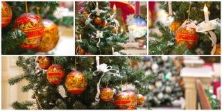 Kerstboomcollage Stock Afbeelding
