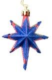Kerstboomdecoratie een donkerblauwe ster Stock Foto