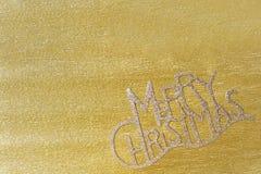 Kerstboomdecoratie op gouden achtergrond Stock Foto