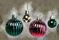 Kerstboomdecoratie op wit De illustratie van de vakantie Stock Foto's