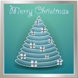 Kerstboomgoud met ballen, woorden vrolijke Kerstmis wordt verfraaid die Royalty-vrije Stock Foto's