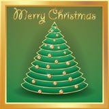 Kerstboomgoud met ballen, woorden vrolijke Kerstmis wordt verfraaid die Royalty-vrije Stock Afbeeldingen