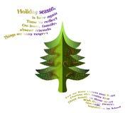 Kerstboomkaart met verzen Royalty-vrije Stock Afbeelding