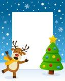 Kerstboomkader met Gelukkig Rendier vector illustratie