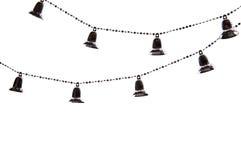 Kerstboomketting met klokken op witte achtergrond Royalty-vrije Stock Foto's