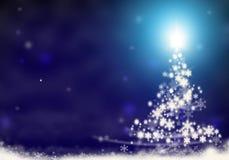 Kerstboomlichten van sterren van achtergrond blauwe sneeuwkerstmis illustratie worden gevormd die als achtergrond royalty-vrije illustratie