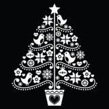 Kerstboomontwerp - volksstijl op zwarte Stock Afbeeldingen
