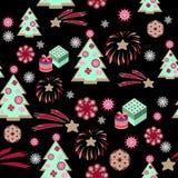 Kerstboompatroon op zwarte achtergrond Stock Foto's