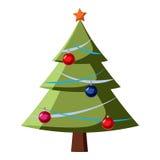 Kerstboompictogram, beeldverhaalstijl Royalty-vrije Stock Fotografie