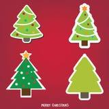 Kerstboomreeks, vectorillustratie Stock Fotografie