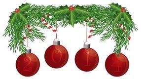 Kerstboomslinger met 2014 Ornamenten Geïsoleerde Illustratie Stock Afbeelding