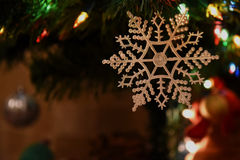 Kerstboomstuk speelgoed lichten Royalty-vrije Stock Afbeeldingen