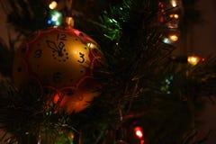 Kerstboomstuk speelgoed lichten Stock Afbeelding