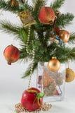 Kerstboomtak en decoratie in een vaas Stock Fotografie