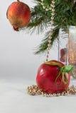 Kerstboomtak en decoratie in een vaas Royalty-vrije Stock Afbeelding