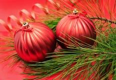 Kerstboomtak met rode snuisterijen Royalty-vrije Stock Fotografie
