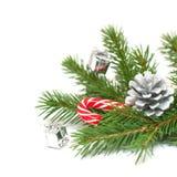 Kerstboomtakken en decoratie Royalty-vrije Stock Afbeeldingen