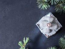 Kerstboomtakken met decoratieve gift Stock Afbeelding