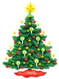 Kerstboomwaterverf Stock Foto's