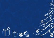 Kerstkaart in blauw Stock Foto