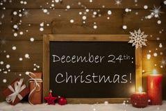 Kerstkaart, Bord, Sneeuwvlokken, Kaarsen, 24 December Stock Foto's