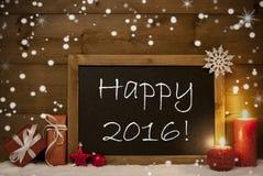 Kerstkaart, Bord, Sneeuwvlokken, Kaarsen, Gelukkige 2016 Stock Afbeeldingen