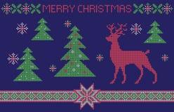 Kerstkaart, de imitatie van het dwars-steekpatroon Royalty-vrije Stock Foto