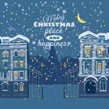 Kerstkaart, de winter, cityscape, het sneeuwen, nacht, verlicht venster stock illustratie