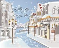 Kerstkaart - de Winter op de straten stock illustratie