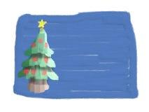 Kerstkaart (die door kind wordt getrokken) Stock Afbeeldingen