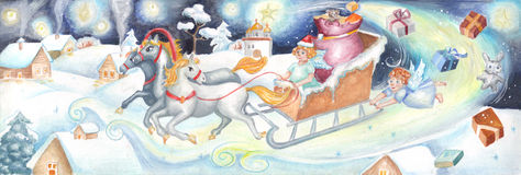 Kerstkaart in een stijl van kinderen Stock Afbeeldingen