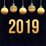 Kerstkaart en geel Kerstmisspeelgoed Het nieuwe jaar van 2019 Stock Afbeeldingen