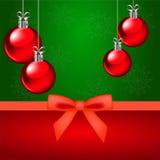 Kerstkaart en rode ornamenten Royalty-vrije Stock Fotografie