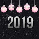 Kerstkaart en roze Kerstmisspeelgoed Het nieuwe jaar van 2019 Stock Afbeelding