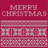 Kerstkaart, gebreid patroon Stock Foto