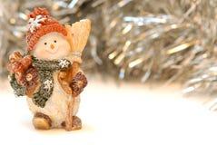 Kerstkaart, gelukkige sneeuwman Royalty-vrije Stock Afbeeldingen