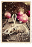 Kerstkaart Getrokken Jingle Bell Retro Photo Snow Stock Foto's