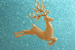 Kerstkaart - Gouden Rendierornament Stock Fotografie