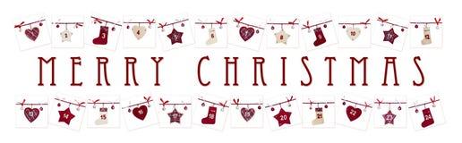 Kerstkaart - komstkalender stock afbeelding