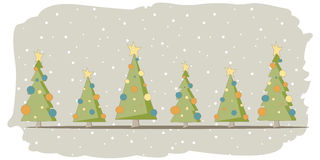 Kerstkaart met 6 bomen en sneeuw Royalty-vrije Stock Fotografie