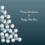 Kerstkaart met abstracte boom op blauwe achtergrond Stock Foto