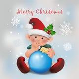 Kerstkaart met babyelf Royalty-vrije Stock Foto's