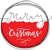 Kerstkaart met bal en met de hand geschreven brievensamenstelling stock illustratie