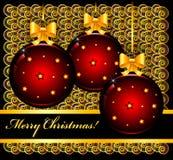 Kerstkaart met ballen Royalty-vrije Stock Fotografie