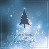 Kerstkaart met Blauwe Heldere Achtergrond Royalty-vrije Stock Fotografie