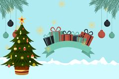 Kerstkaart met blauwe Kerstboomornamenten royalty-vrije illustratie