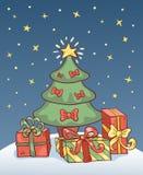 Kerstkaart met boom. Royalty-vrije Stock Afbeeldingen