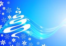 Kerstkaart met boom en sneeuwvlokkenschets Stock Afbeeldingen