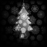 Kerstkaart met boom. + EPS8 Stock Foto's